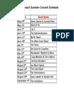 Summer Concert Schedule - 2020