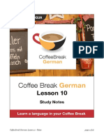 Coffee Break German. Lesson 10. Study Notes