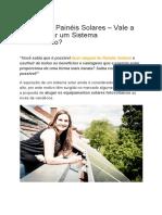 Aluguel de Painéis Solares – Vale a Pena Alugar Um Sistema Fotovoltaico
