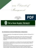 Human Elements of Management