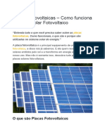Placas Fotovoltaicas – Como Funciona o Painel Solar Fotovoltaico