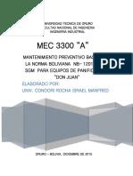 MANTENIMIENTO PREVENTIVO BASADO EN LA NORMA BOLIVIANA  NB (Reparado)