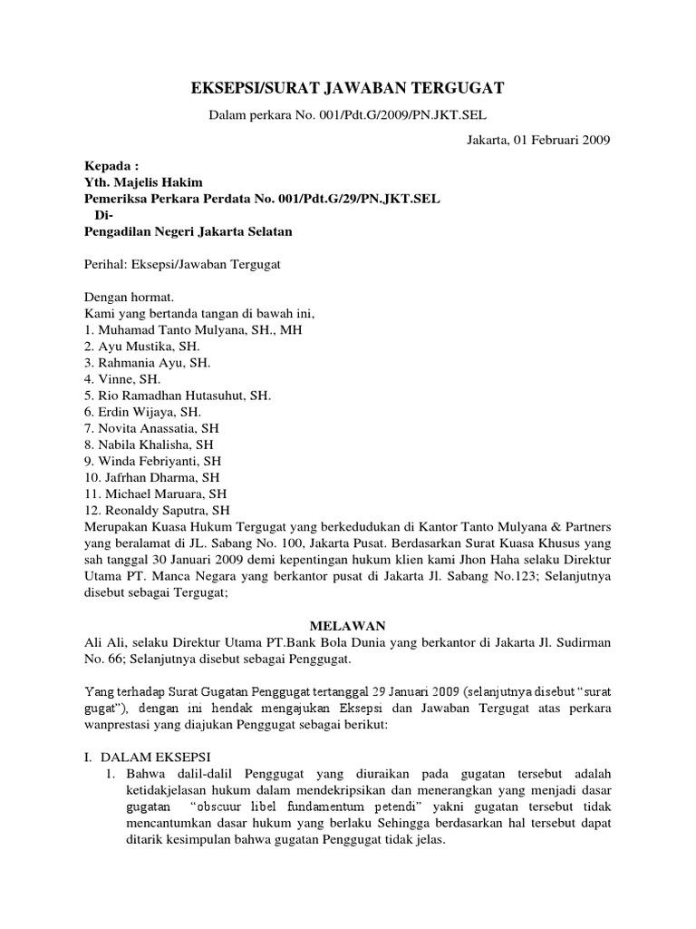 Contoh Surat Jabatan Tergugat Eksepsi Wanprestasi Pengadilan Negeri Jakarta Selatan