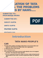 Relocation of TATA NANO & the Problems Faced