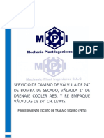 """PETS SERVICIO DE CAMBIO DE VÁLVULA DE 24"""" DE BOMBA DE SECADO, VÁLVULA 1"""" DE DRENAJE COOLER AB5, Y RE EMPAQUE VÁLVULAS DE 24"""" CH. LEWIS."""