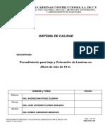PROCEDIMIENTO DE IZAJE Y COLOCACION DE LAMINAS