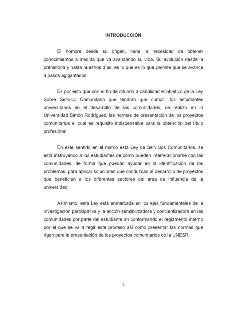 Trabajo introducci n al servicio comunitario normativa for Proyecto comedor comunitario pdf