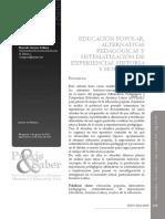Gomez Sollano Marcela. Educacion popular, alternativas pedagogicas y sistematización de Experiencias
