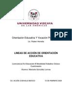 LINEAS DE ACCION DE LA ORIENTACION EDUCATIVA