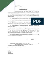 affidavit of loss - drivers license