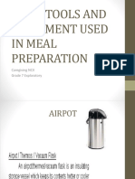 BASIC TOOLS AND EQUIPMENT USED IN MEAL PREPARATION