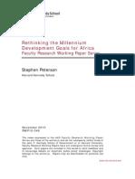 """""""Rethinking the Millennium Development Goals for Africa"""" - Peterson, Stephen."""