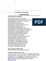 Fall 2010 Journal of Business Leadership