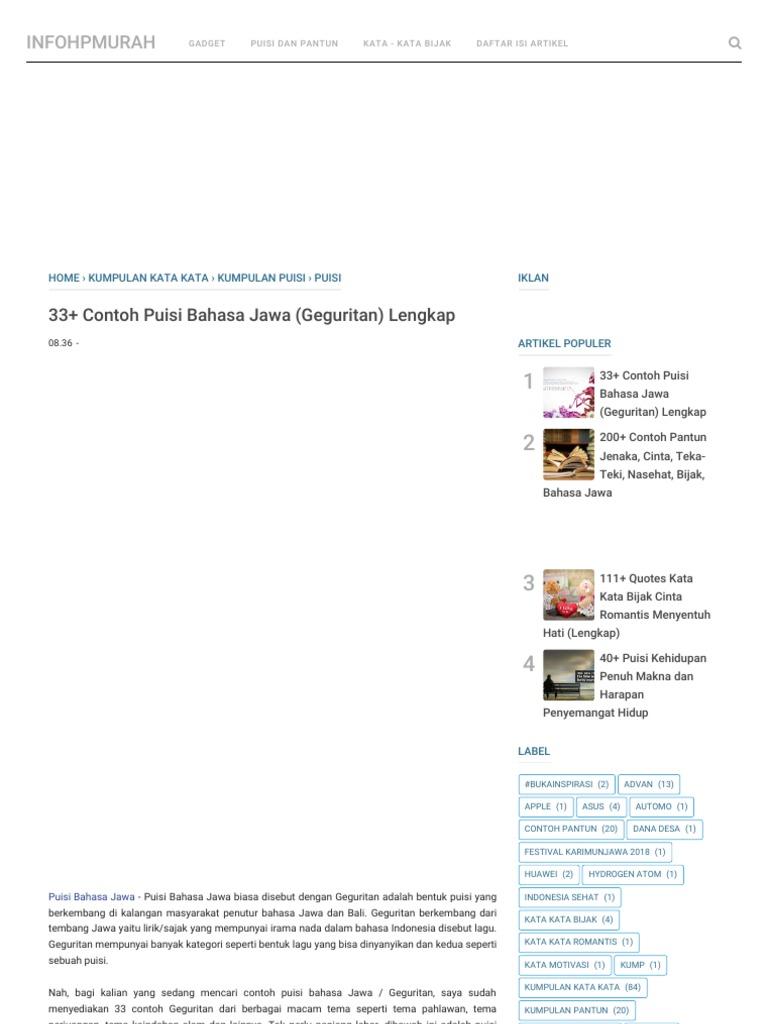 33 Contoh Puisi Bahasa Jawa Geguritan Lengkap Pdf