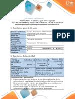 Guía de actividades y rúbrica de evaluación – Fase 3 –Analizar los enfoques teóricos del pensamiento administrativo (2)