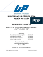Proyecto de inversion_PURIFICADORA DE AGUA.