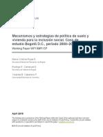 mecanismos y estrategias de politica de suelo y vivienda para la inclusion social - caso bogota