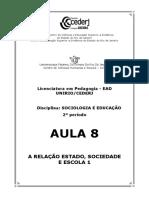 SOCIOLOGIA E EDUCAÇÃO AULA 8