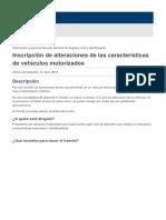 Inscripción de alteraciones de las características de vehículos motorizados