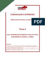 TEMA 7 - LER E COMPREENDER DIFERENTES TIPOS DE TEXTOS - CONCORDÃ_NCIA VERBALO E NOMINAL (1)