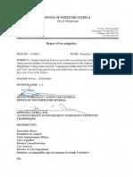 Report of Investigation Animal Welfare