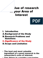 The value of research in your Area of