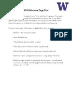 APA Reference Page Worksheet - UW SSW Writing Center