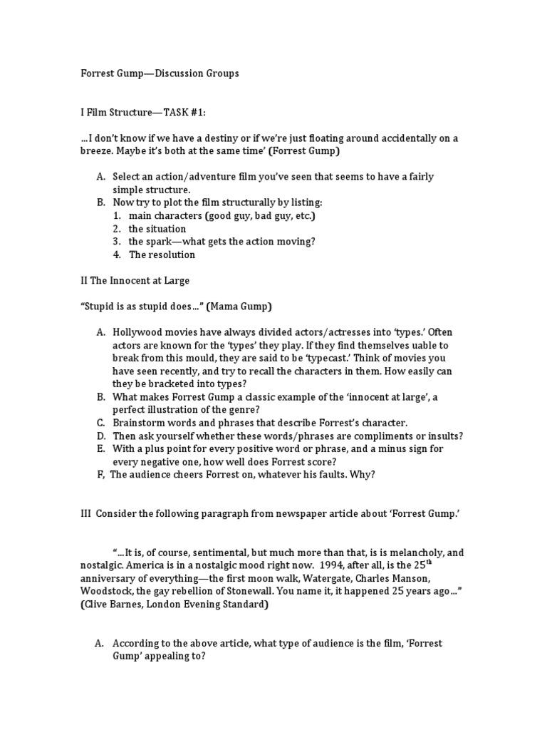 Free Worksheet Forrest Gump Worksheet forrest gump discussion points