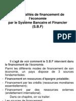 Les modalités de financement de l'économie