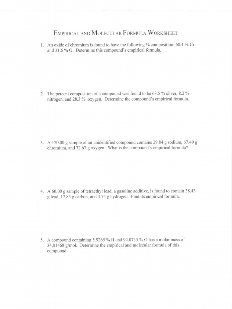 11 Empirical Formula Worksheet Ii