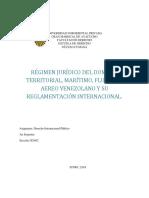 Regimen juridico del dominio aereo, territorial, maritimo y fluvial venezolano y su reglamentación internacional