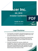 Acer Q3 2010 Investor Conference