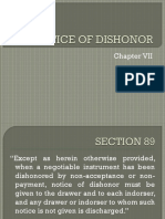 NOTICE OF DISHONOR