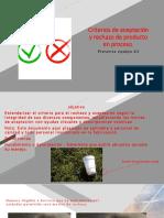 Criterios de Aceptación y Rechazo de Producto En