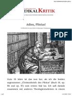 – Adieu, Plinius! – Radikalkritik