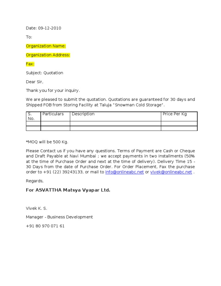 Price Quotation Format – Quotation Document Sample
