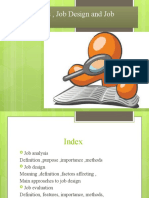 Job Analysis , Job Design and Job Evaluation