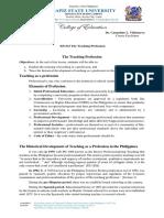 Report 1 - Teaching Profession