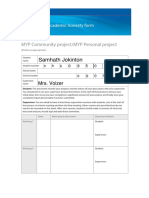 MYP Personal Project Academic Honesty Form SAMPLE