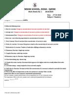 board class XII worksheet  kinetics