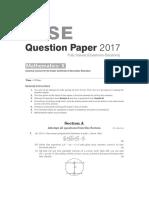 Arihant Books ICSE Class 10 Maths Solved Question Paper 2017