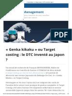 «Genka kikaku» ou Target costing _ le DTC inventé au Japon _