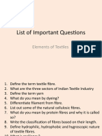 List of Important Questions - Elements of Textiles