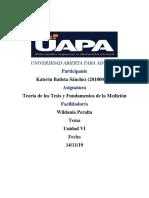 TAREA VI TEORIA DE LOS TESTS