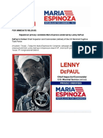 Former US Marshall Commander Lenny DePaul Endorses Maria Espinoza for Congress