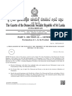 Extraordinary Gazette dissolving Parliament of Sri Lanka