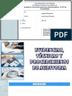 EVIDENCIAS , TECNICAS Y PROCEDIMIENTOS DE AUDITORIA