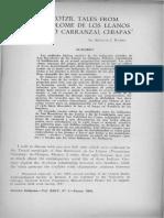 Two tzotzil tales from San Bartolome de los Llanos (Venustiano Carranza), Chiapas / Rubel, Arthur J.
