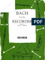 Johann Sebastian Bach - Bach for the Recorder  (8 pieces from the Solo Cello Suites) Edited by Franco Crepax-G. Ricordi & Co (1960)