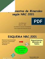 Requerimientos de minerales según NRC 2001, ppt